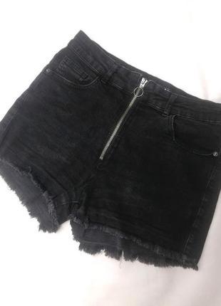 Джинсовые шорты на молнии темно- серого цвета