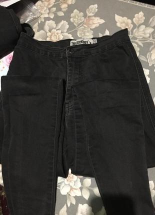 Чёрные джинсы скинни высокая талия