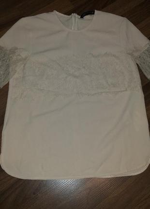 Блуза с кружевом, кофточка, пудрового цвета zara