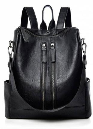 Женский городской рюкзак сумка, чёрный рюкзак из эко кожи, жіночі рюкзаки