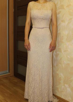 Шикарное вечернее свадебное платье