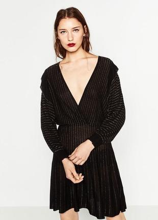 Стильное черное платье с люрексом zara, новое, распродажа