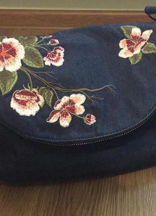 Сумка женская джинсоваяone size с вышивкой.