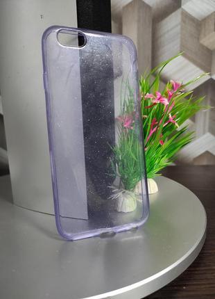 Силиконовый чехол для iphone 6 прозрачный фиолетовый