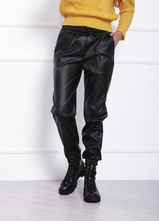 Кожаные брюки-джоггеры. супер качество. эко-кожа