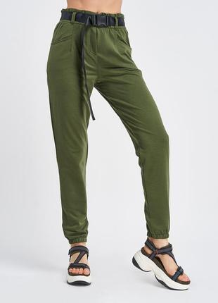 Трикотажные брюки цвета хаки с высокой посадкой