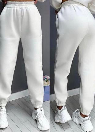 Джогеры, спортивные штаны на флисе, теплые. белые, черные, серые, беж, пудровые, розовые