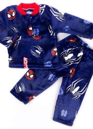 Пижама детская на 2-х пуговицах рваная махра и изображением паука