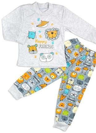 Пижама комбинированный интерлок с рисунком серого цвета