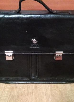 Мужская фирменная сумка портфель polo gentlema для документов a4
