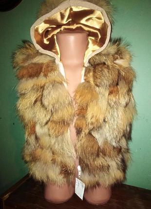 Меховая жилетка из лисы с ушками и хвостиком