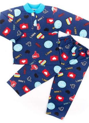 Пижама на 2-х пуговицах начес синего цвета