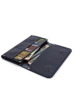 Тёмно-синий кожаный кошелек ручной работы / темно-синій шкіряний гаманець ручної роботи