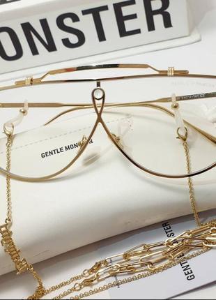 Крутые стильные всесезонные очки солнцезащитные зимние летние в золоте