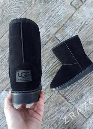 Угги мужские высокие черные эко замша u 113 замшевые на меху теплые ботинки сапоги