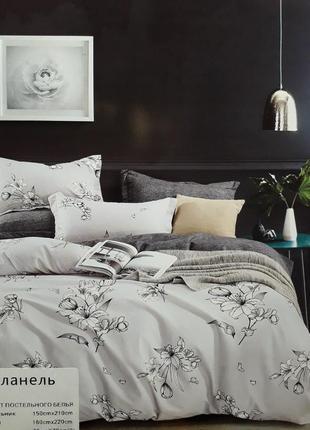 Евро постельное белье из фланели, комплекти постельного белья, постільна білизна