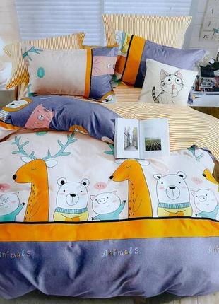 Полуторное постельное белье из фланели с большой двуспальной простынью, постільна білизна