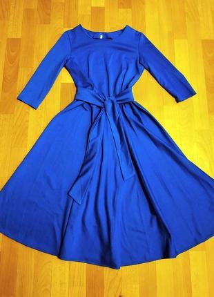 Платье синее миди (трикотаж)