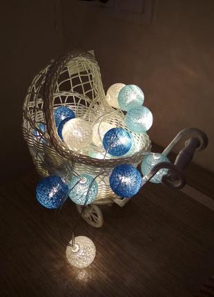 Круглорічні тайські гірлянди, хлопковая гирлянда 20 шаров