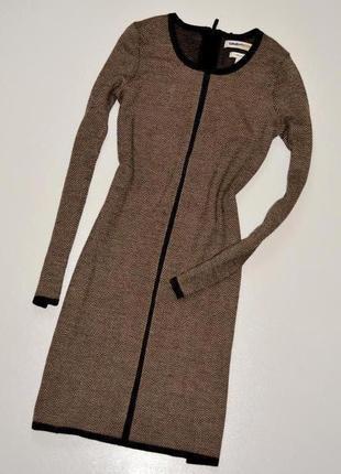 Clements ribeiro стильное дизайнерское платье в елочку из шерсти мериноса