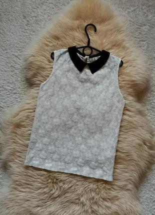 Полупрозрачная блуза воротник гипюр
