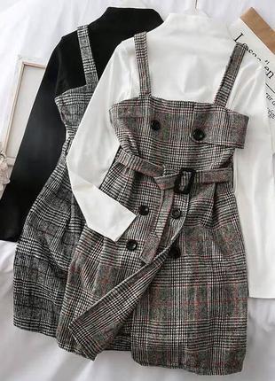 Сарафан в клетку. серый, коричневый. платье. на пуговицах