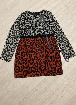Интересное комбинированное  платье леопард 😍