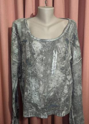 Мохеровый свитерок паутинка с напылением под серебро