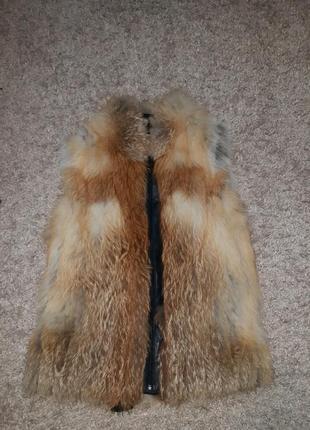 Жилеточка из меха лисы и натуральной кожи. размер 38-44.