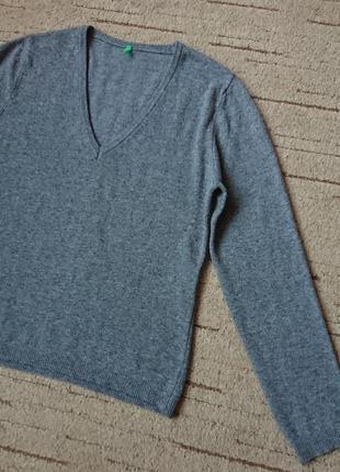 Базовый шерстяной свитер benetton, теплый пуловер, классика #100%шерсть#