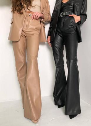 Костюм брюки из эко кожи с высокой посадкой пиджак