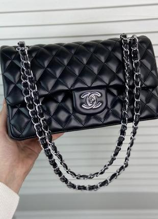 Женская стёганная сумка на и через плечо жіноча сумочка чёрная чорна