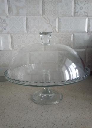 Стеклянная подставка под торт тортовница