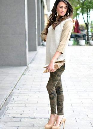 Стильный тёплый🔥💣натуральный бежево-кремовй свитер-туника с рукавами под кожу от zara
