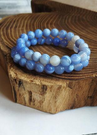 Крутейший браслет из голубого агата