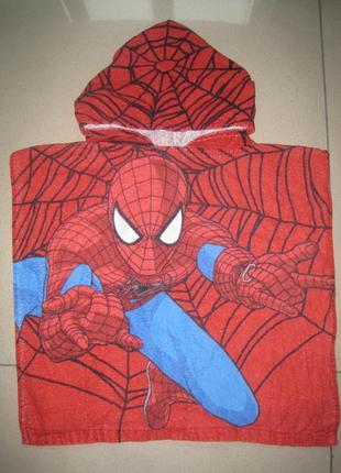 Детское банное, пляжное полотенце - пончо на 2-6лет спайдермен человек паук spider man