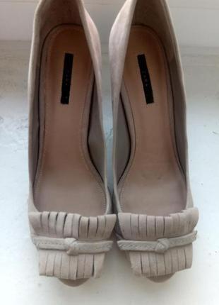 Замшевые туфли zara, размер 392 фото