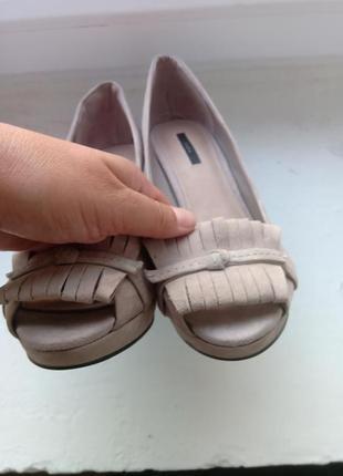 Замшевые туфли zara, размер 393 фото