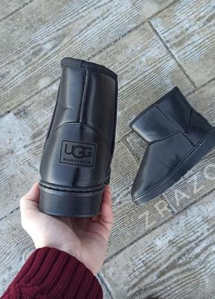 Угги мужские высокие черные эко кожа u 112 кожаные на меху теплые ботинки сапоги