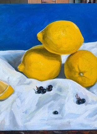 Живопись маслом «лимоны со смородиной»