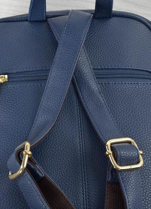 Стильный женский городской рюкзак синий3