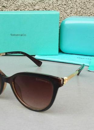 Tiffany & co очки женские солнцезащитные коричневые с градиентом