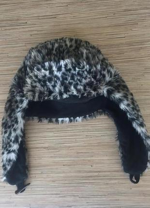 Меховая шапка ушанка леопардовый принт