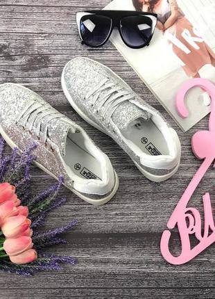 Эффектные кроссовки с глиттерным декором  sh28141  trukle