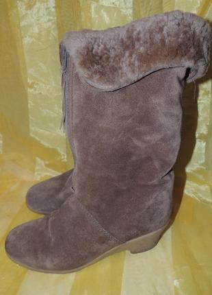 Зимние теплые кожаные сапоги на овчине gabor р. 39