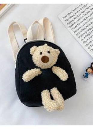 Рюкзак з ведмедиком cute bear canvas чорний