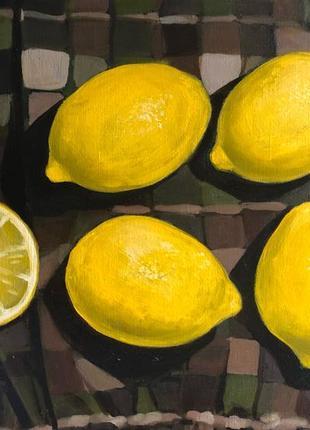Живопись маслом «лимоны на клетчатом платье»
