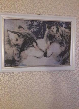 Картина в раме «пара волков»