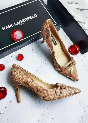 Karl lagerfeld оригинал бежевые с золотистым кожаные туфли лодочки