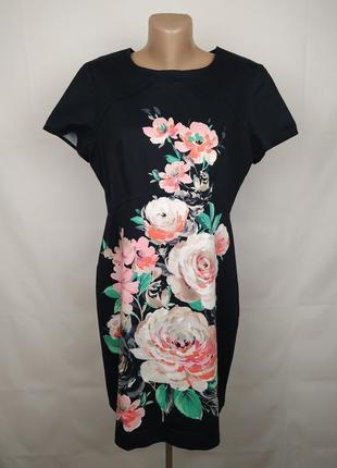 Платье футляр плотное на подкладке с цветочной вставкой oasis uk 16/44/xl